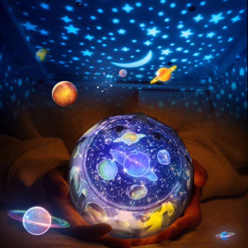 LED de luz de la noche de cielo estrellado cielo estrella mágica Luna planeta para proyector Cosmos universo Luminaria bebé vivero de regalo de cumpleaños