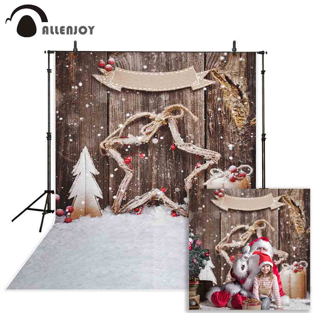 Allenjoy backdrop for photographic studio beautiful snowflake pentagram decoration pine gifts Christmas background photocall photographic studio background white clouds blue dinette chinese style new born professional xmas photocall background pictures