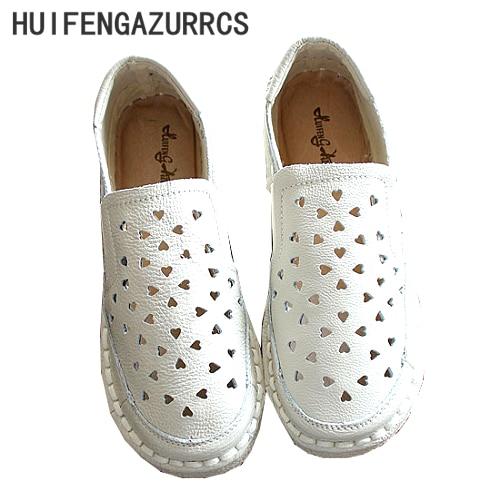 HUIFENGAZURRCS-Genuine Leather Sandals,pure handmade white shoes,the retro art mori girl Flats shoes,Hollow Casual shoes,4 color genuine leather cover pure handmade card
