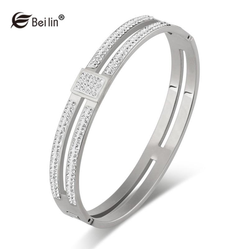 b7ad219c3883a Stainless Steel Jewelry White Rhinestone Cuff Bangle Bracelet Women ...