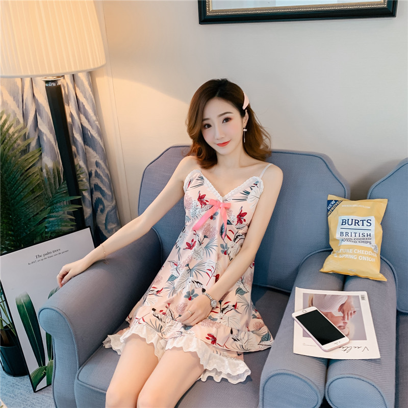 New Arrivals WAVMIT Women Pajamas Set Sexy Sling Lace Sleepwear Shortless Sleeve Pyjamas With Chest Pad Girl Short Pajamas Pant