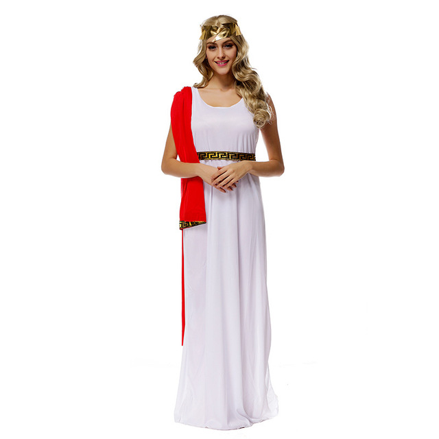 Adult Greek Goddess Athena Goddess Costumes White Muse Cosplay Halloween Costume  Goddess Helena Girls Fancy Dress 69c413576c96