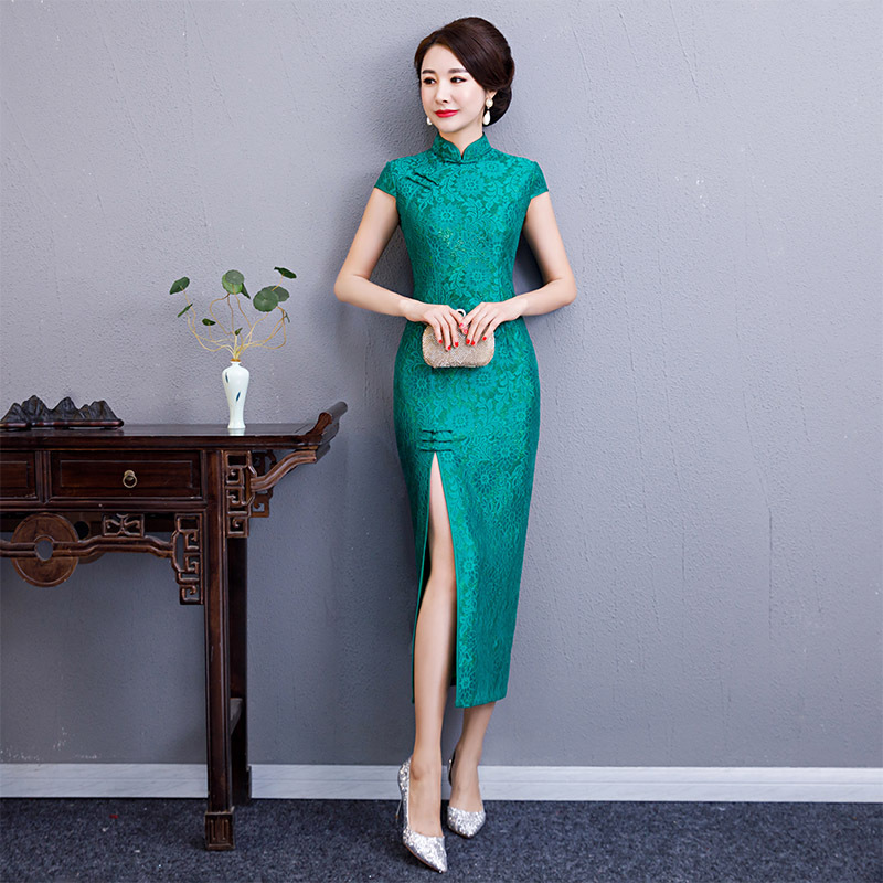 2019 Sexy Long Cheongsam style chinois traditionnel à manches courtes robe femmes printemps dentelle Qipao Slim robes de soirée Vestido-in Robes from Mode Femme et Accessoires on AliExpress - 11.11_Double 11_Singles' Day 1
