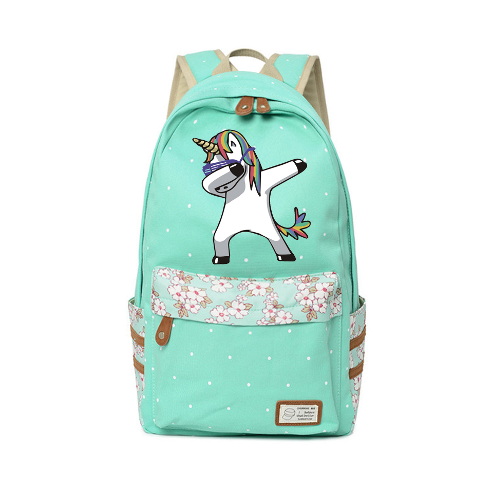 59c5f1723955 Detail Feedback Questions about New Canvas Backpack Unicorn School travel  for teenagers Kawaii Shoulder Bag boy girls High Quality Flower wave point  ...