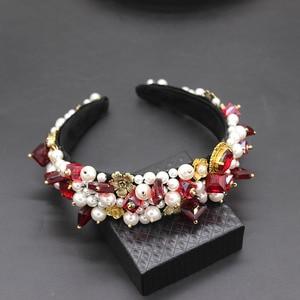 Image 5 - Personality street style headband Baroque exaggerated crystal pearls with headband catwalk dance multicolor headband 903