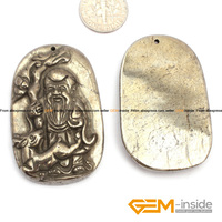 Pyrite Pendant 30x50mm Chinese God Carved Gray Pyrite Beads Natural Pyrite Stone Beads For Pendant Making