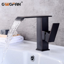 купить Basin Faucets Waterfall Bathroom Faucet Single Handle Basin Mixer Tap Black Brushed Faucet Brass Hot and Cold Sink Water Taps дешево