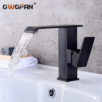 Basin Faucets Waterfall Bathroom Faucet Single Handle Basin Mixer Tap Black Brushed Faucet Brass Hot and Cold Sink Water Taps
