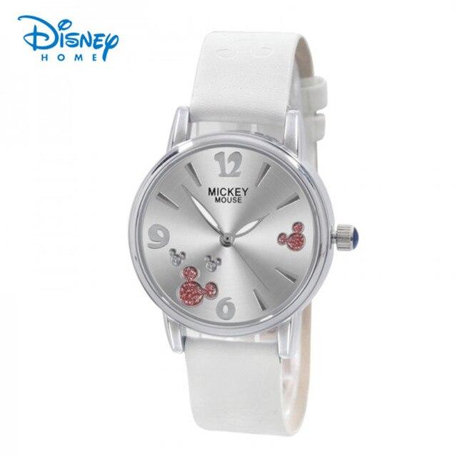2610de59352 Disney Assistir Mulheres Moda de Luxo Pulseira de Couro Relogio feminino  Mickey Mouse Rosa Branca Das