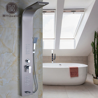 Stainless Steel Single Lever Wall Mount Shower Faucet Panel Tub Spout Handshower 2 Parts Massage Jets