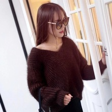 New V Plush mink cashmere sweater collar female head Korean fashion Strapless loose knit gold free shipping