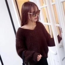 New V Plush mink cashmere sweater collar female head Korean fashion Strapless loose knit gold free