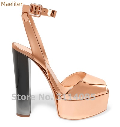 Newest Rose Gold Patent Leather Dress High Heel Sandals Chunky Heel Ankle Buckle Strap Dress Shoes High Platform Champagne Shoes fox джемпер розовый