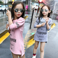 2016 Autumn Teeange Girl T Shirts With Full Sleeve Korean Fashion Letters Basic Shirt Cotton Long