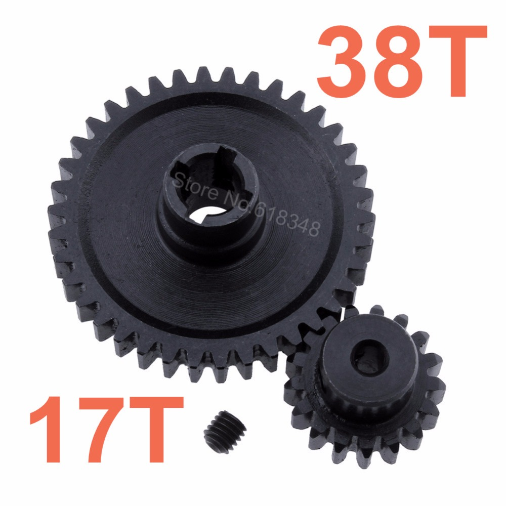 2pcs Metal WLtoys A959 Steel Diff Main Gear 38T & Motor Pinion Gear 17T For 1/18 Electric Buggy Vortex diy 3mm 45 steel gear wheel motor 2 pcs