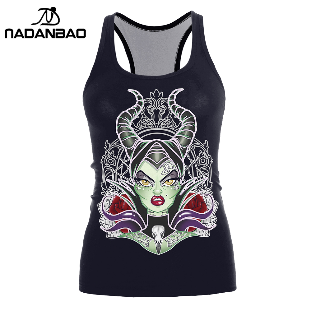 NADANBAO Brand New Arrival   Tank     Top   Women Halloween Black Magic Blusa Woman 3D Printed Fitness Cami Cropped Feminino   Tops