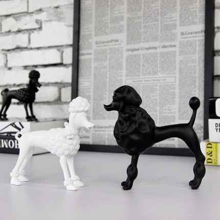 Nordic modern minimalist home decorations resin crafts black and white poodle abstract animal figurines statues ornaments