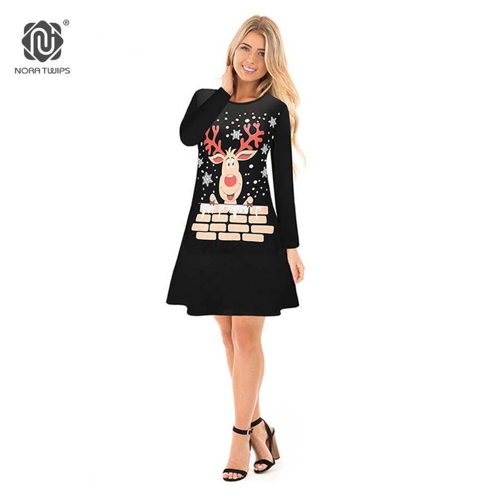 52b705bbcd2 NORA TWIPS 2018 рождественское платье для женщин с длинным рукавом снег  письмо платье принтом модные зимние