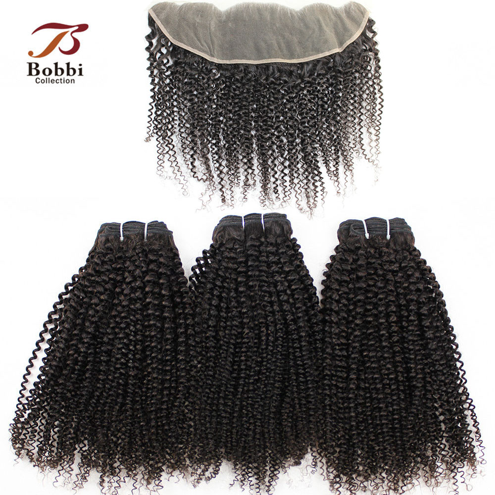BOBBI COLLECTION Afro Kinky Curly Brazilian Human Hair Weave 2/3 Bundles With Frontal 4x13 Ear To Ear Lace Frontal Non-Remy Hair