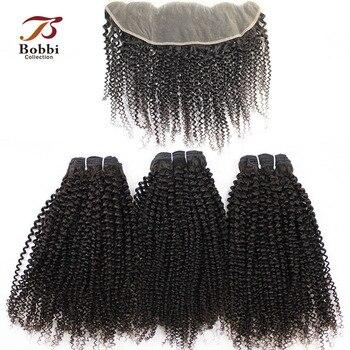 Tissage en lot Afro brésilien Non Remy avec Frontal-BOBBI COLLECTION | Cheveux naturels crépus bouclés, 4x13, oreille à oreille, Lace Frontal, 2/3 lots