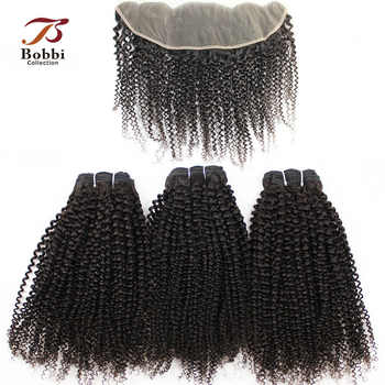 BOBBI COLLECTION Afro Kinky Curly Brazilian Human Hair Weave 2/3 Bundles With Frontal 4x13 Ear to Ear Lace Frontal Non-Remy Hair - DISCOUNT ITEM  34% OFF All Category
