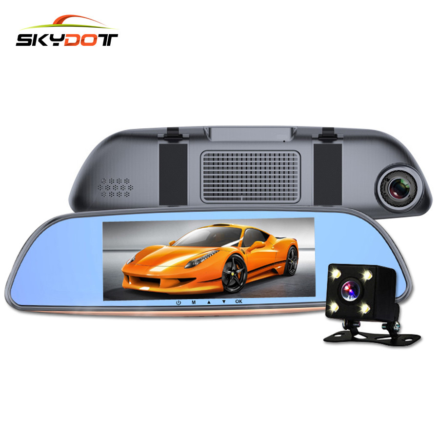 SKydot 6.86 Inch Car DVR Camera Rearview Mirror Dual Lens FHD 1080P Dash Cam Night Vision Front And Rear Two DVRS Video Recorder футболка с длинным рукавом для мальчика barkito море 1 синяя