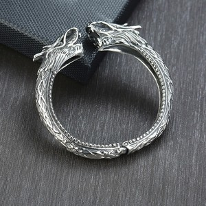 Image 5 - Heavy Stainless Steel Dragon Head Cuff Bracelet for Men Nomad Tribal Vintage Bangle Jewelry
