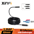 Xinfi 10mm 1.3MP USB Endoscopio 10 M cable mini cámara de tuberías de alcantarillado endoscopio para PC windows USB tubo de la Serpiente cámara de coche inspección