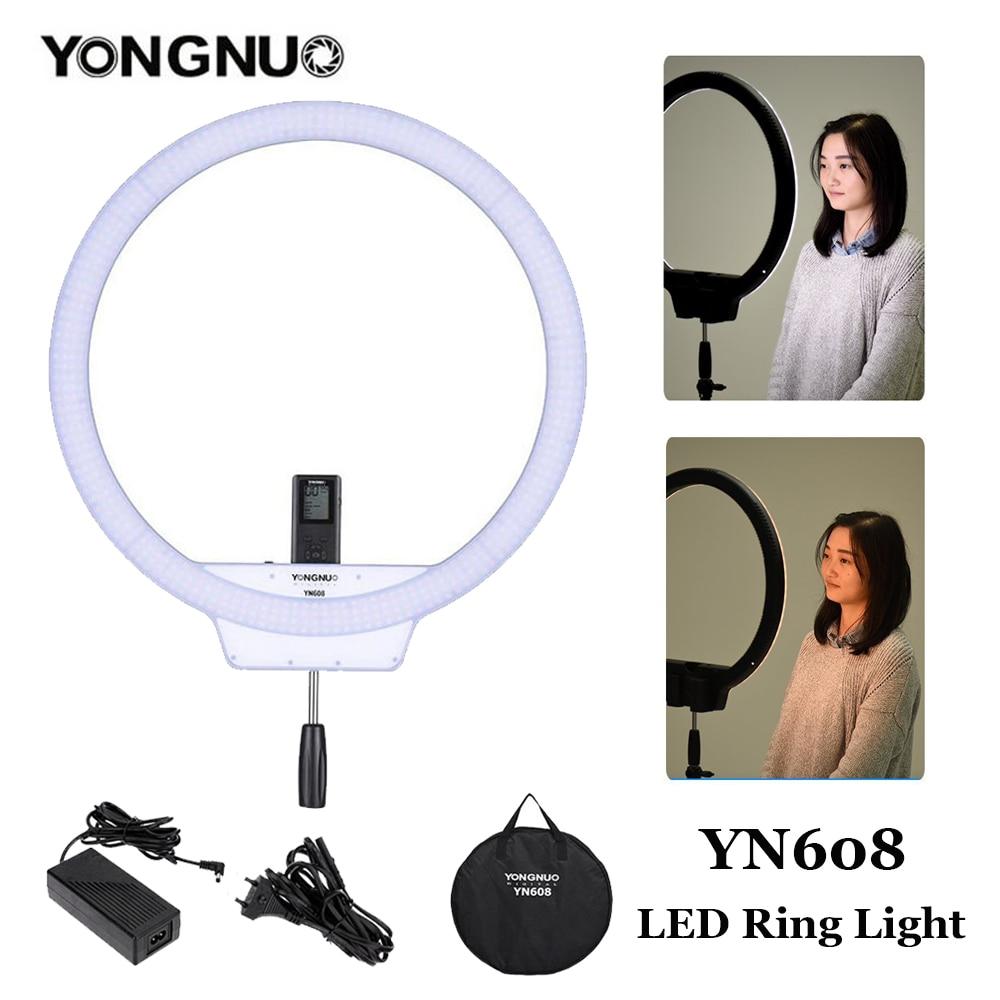 YongNuo YN608 Bi-Color 3200K~5500K LED Studio Ring Light Wireless Remote Video YN-608 Light CRI>95 Photo Lamp with Power Adapter yongnuo yn128 yn 128 camera photo studio phone video 128 led ring light 3200k 5500k photography dimmable ring lamp