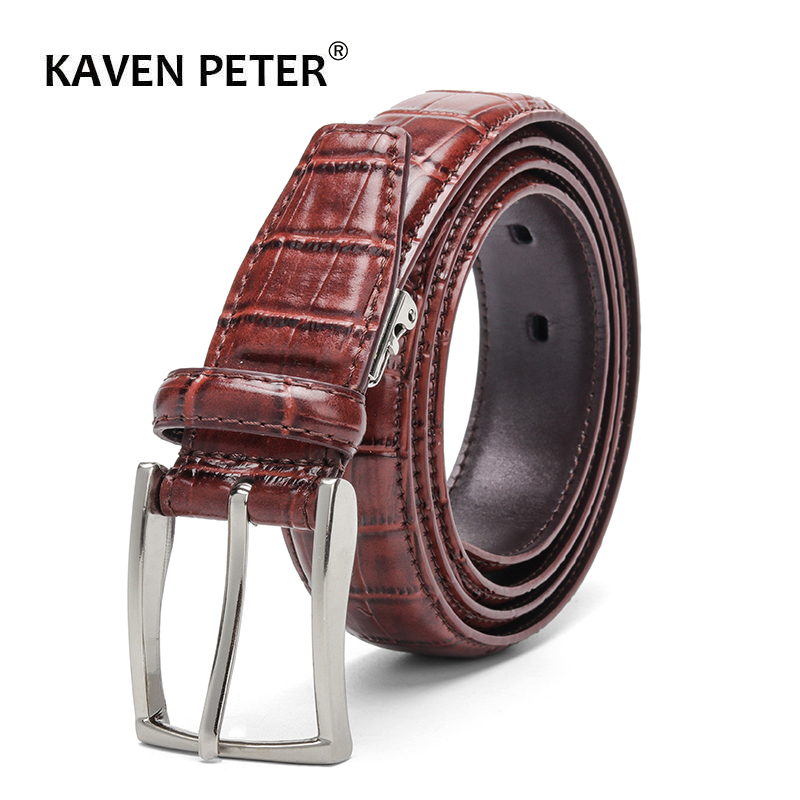 Casual Men Belts Crocodile Pattern Cowskin 3.0 CM Belts For Women Unisex Genuine Leather Belt Cinturones Para Hombre Black Brown