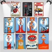 Esa buena gasolina del Golfo Vintage pin up Girl carteles de metal avión motocicleta cartel pared placa Motor decoración de pintura de aceite WY69