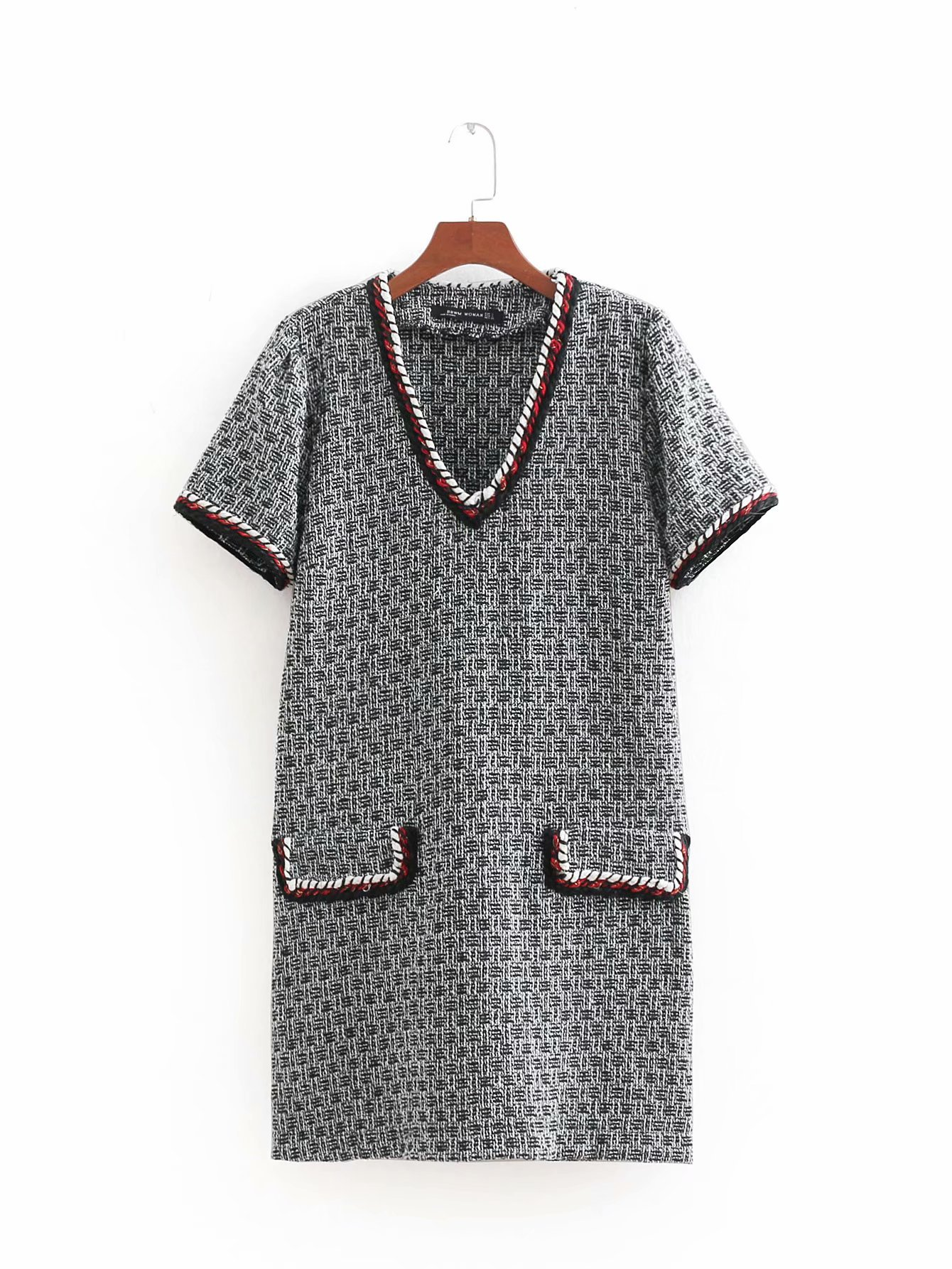 Painstaking Bb50-8446 European And American Fashion Dress Trimmed Tweed Durable In Use Women's Clothing