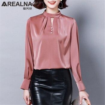 45076df91c7 Product Offer. Элегантная блестящая шифоновая блузка женская мода женские  блузки 2019 искусственный Слик рубашки черный розовый шикарный длинный рукав  ...