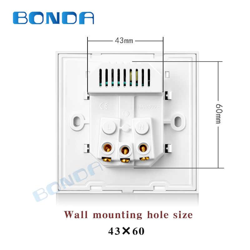 Tomada de parede da ue com tomada usb, vidro 2a dupla usb carregador tomada de parede, 16a 2100ma tomada de parede elétrica