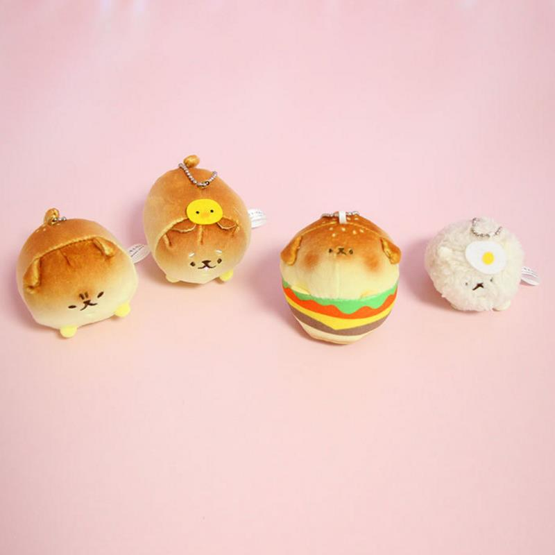 1 Pc NEW Lovely Cartoon Bread Hamburger Shape Dog Plush Pendant Corgi Shiba Inu Dog Stuffed Plush Keychain For Kids Gift
