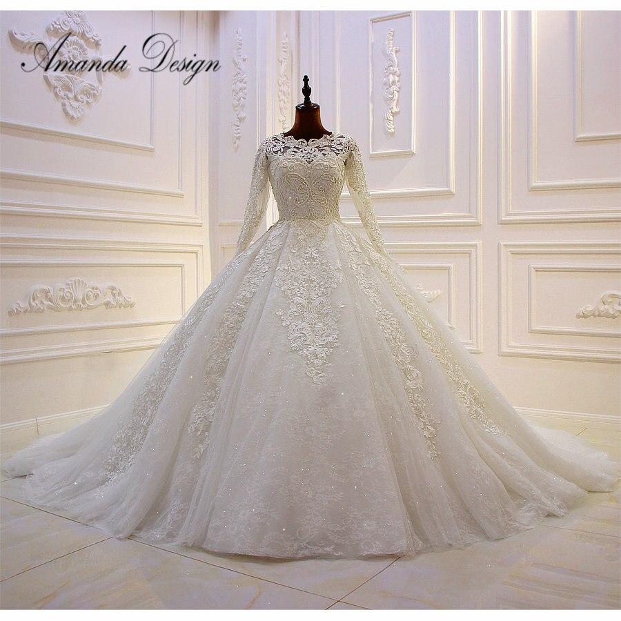 Amanda Design brautkleider hochzeitskleid Long Sleeve Lace Applique Pearls Turkey Wedding Dress
