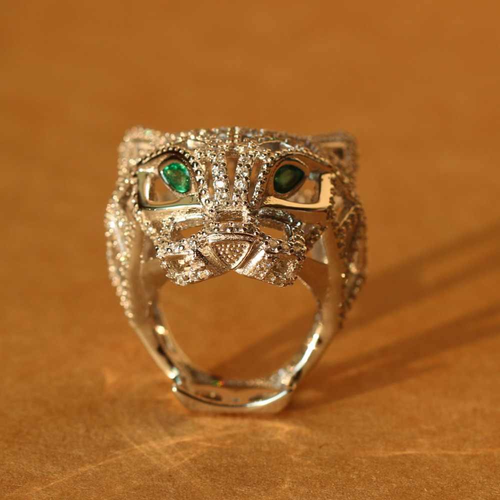 Ring Damen Edelstahl Silber 925 plattiert Panther Leopard Zirkonia Leopardenkopf