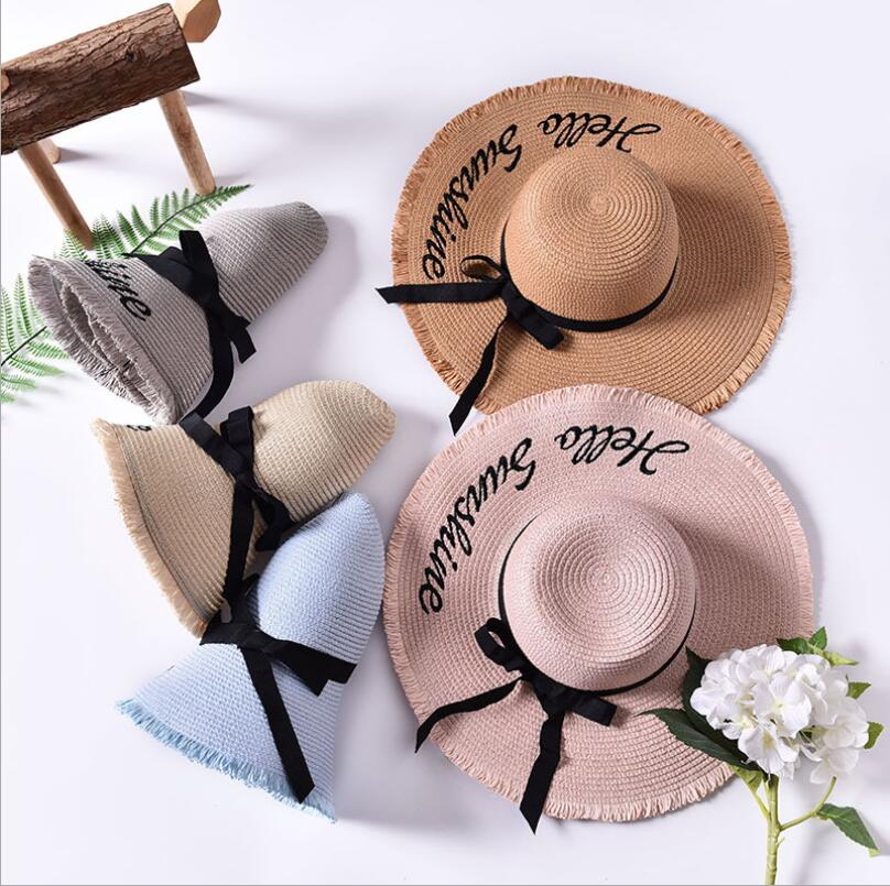 Sun-Hats Ribbon Weave Letter Lace-Up Summer Caps Chapeu Outdoor Large Women Brim Handmade