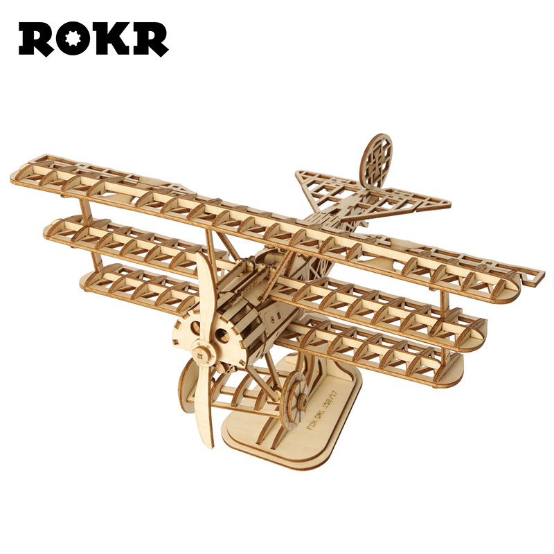 ROKR 3D Laser Cutting Wooden Puzzle Toy Assembly Airplane Model DIY Wood Craft Kits Bi-Plane For Kids And Adults TG301