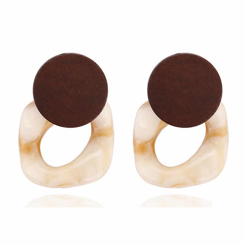 E476 mode grande résine boucles d'oreilles pour femmes 2019 nouveau acide acétique grande corée carré boucles d'oreilles à la mode bois géométrique bijoux