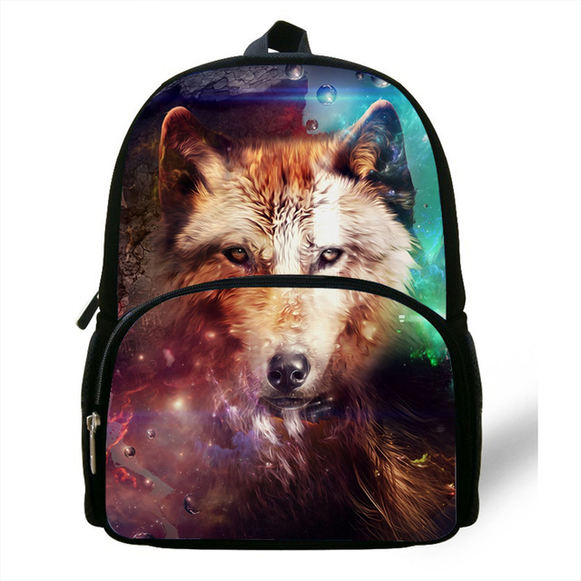 9c339b9c4839 12-inch Mochila School Kids Animal Backpack Wolf Print Fashion Animal Bag  Children Boys Backpacks For School girls Age 1-6