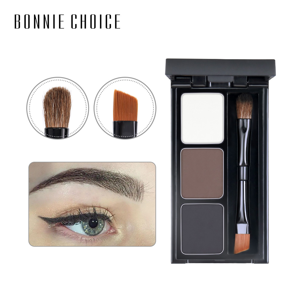 BONNIE CHOICE 2 Color Eyebrow Enhancer Pro Makeup Eyebrows powder Long-lasting Waterproof With Brush Mirror Cosmetic Kits 1