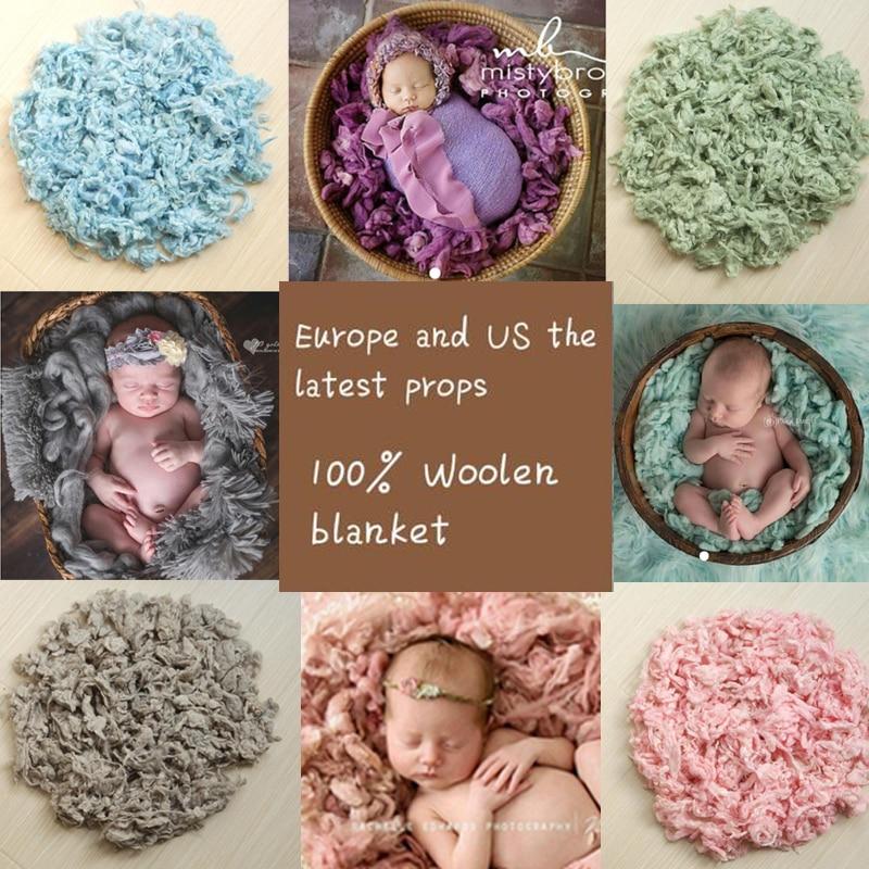 100% Pure Lână Flanșă Pulbere Blanket Imagine pentru nou-născuți Programe de fundal Fotografii Studio Aided Modeling Filler Coș Stuffer