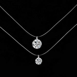 Silver Color Dazzling Zircon Necklace Invisible Transparent Fishing Line Simple Pendant Necklace for women Fashion Jewelry Party