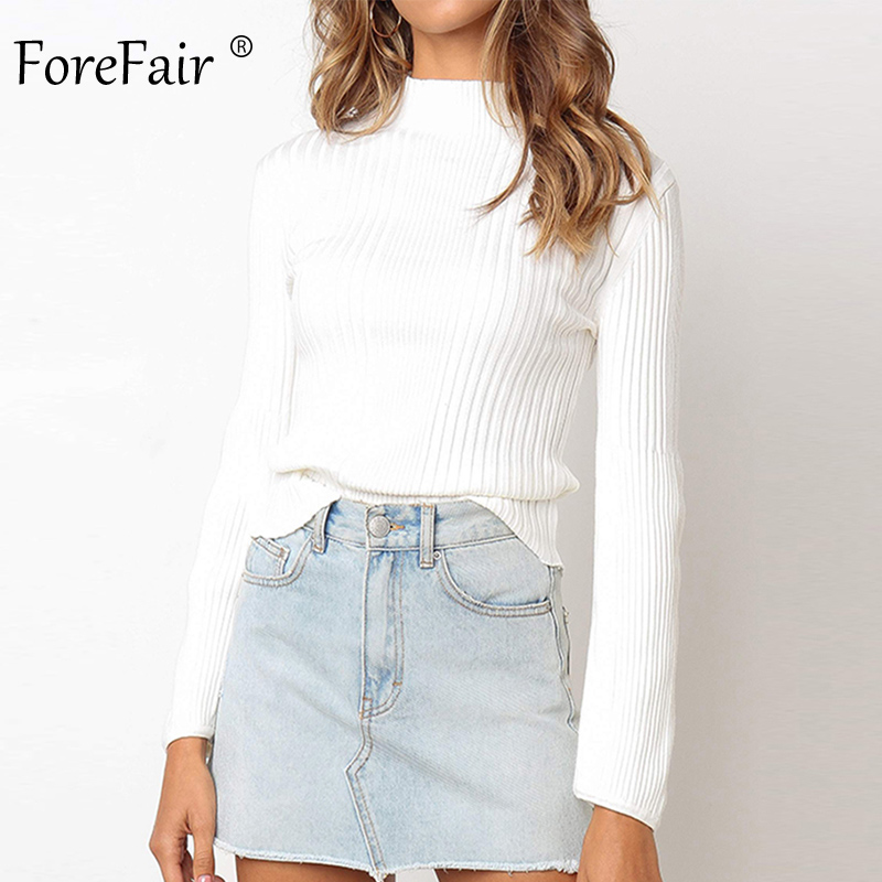 Forefair Turtleneck Sweaters For Women Autumn Winter 2019 Pullovers Casual Slim Ribbed Knitted Basic Black White Sweaters