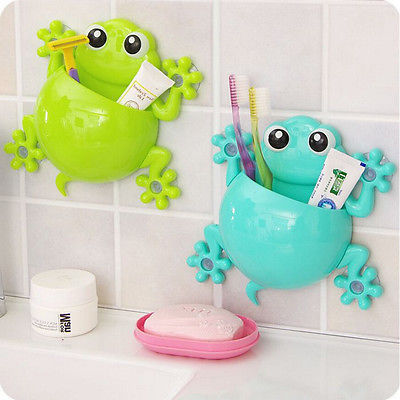 Diy Frog Toothbrush Holder Model Wall Mounted Suction Bathroom Cool