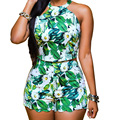 Milk Silk Nightclub Set women off shoulder green floral printed crop top sarafan blusa cropped feminino zipper shorts club wear