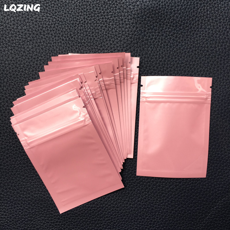 8*12cm Colors Mini Ziplock Baggie Aluminized Recyclable Bags Mini Plastic Bags Pink Zip lock Jewelry Storage Bag With Zipper 40x