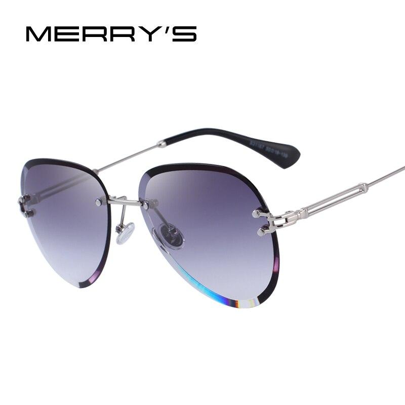 MERRYS DESIGN Women Rimless Pilot Sunglasses Gradient Lens UV400 Protection S6121