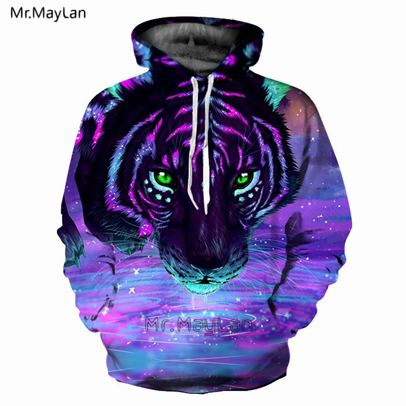 3D Print Animal Tiger Head Purple Hoodies Mannen Vrouwen Hipster - Herenkleding